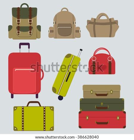 Luggage flat set. Vector bag icons