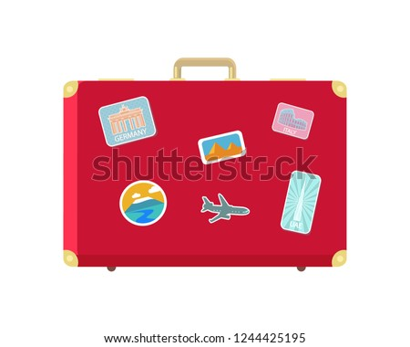Luggage for long traveling and journey isolated icon vector. Valise with stickers of aircraft and Berlin gates. Egypt and Roman landmarks in pics