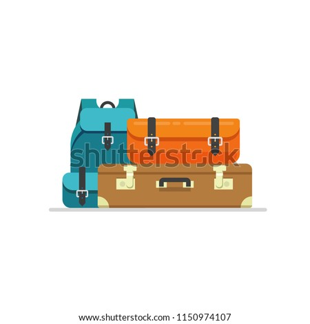 Luggage isolated vector illustration, flat cartoon travel suitcase, bag or handbag and backpack baggage ready for trip