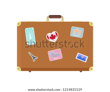 Luggage journey for traveler with bag isolated icon vector. Valise decorated with stickers of Canada flag, Eiffel tower and German Berlin landmark