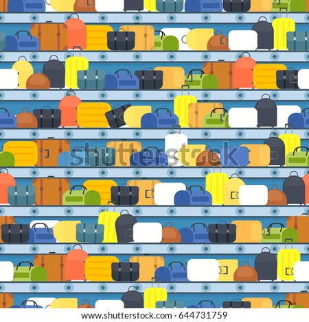 luggage on airport belt. vector seamless pattern