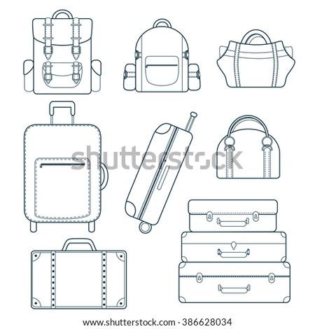 Luggage set. Vector bag icons