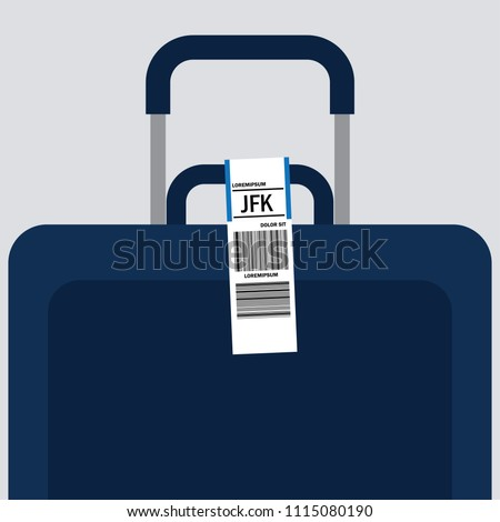 luggage tag label on suitcase with country code and barcode. vector illustration