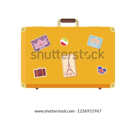 Luggage time to travel with valise decorated with stickers isolated icons set vector. Vacation suitcase for personal things, bag with Eiffel tower