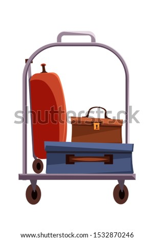 Luggage trolley flat vector illustration. Hotel baggage cart isolated clipart on white background. Suitcase, briefcase, valise transportation on carrier. Taxi services. Carrying baggage in airport