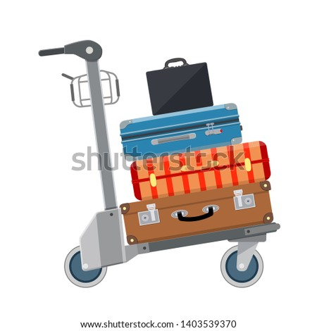 Luggage Trolley icon. Airport Luggage Cart. Vector illustration in flat style