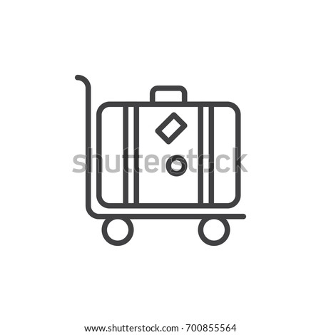 Luggage trolley with suitcase line icon, outline vector sign, linear style pictogram isolated on white. Baggage transportation symbol, logo illustration. Editable stroke. Pixel perfect vector graphics