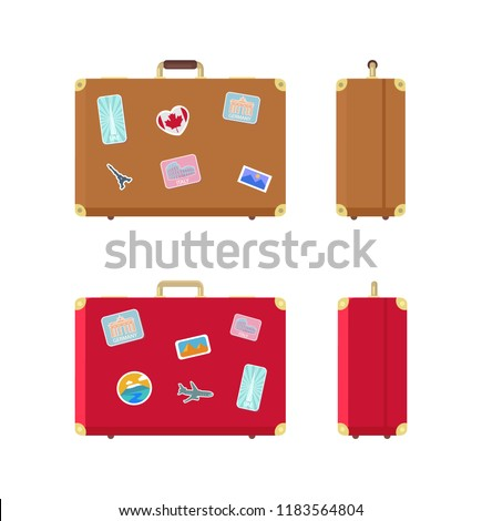 Luggage valises for traveling icons set vector. Stickers on baggage, airplane and Egypt landmarks, Rome and UAE highest building skyscraper in world