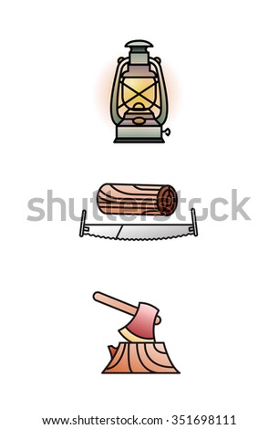 lumberjack icon set color
