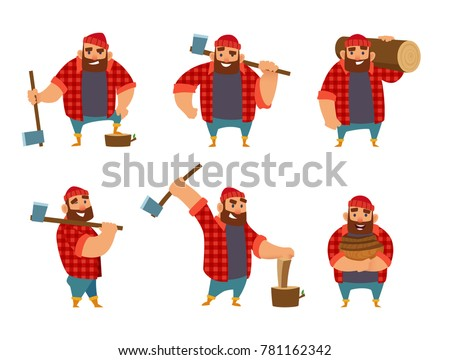 Lumberjack in different poses holding axe in hands. Vector pictures isolate on white. Worker lumber with wood, character cartoon woodcutter illustration