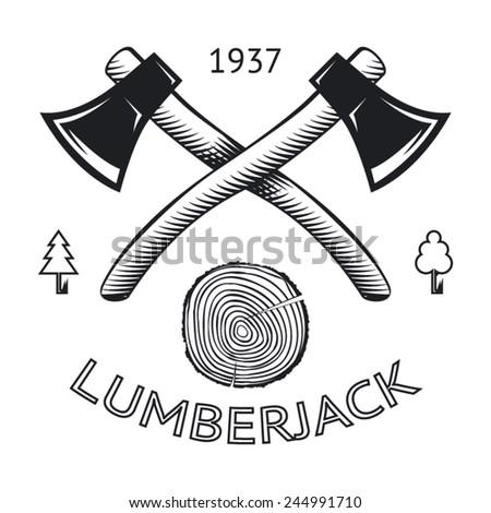 lumberjack logo symbol hatchet