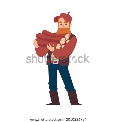 Lumberjack or woodcutter male character holding timbers, flat vector illustration isolated on white background. Lumberman standing with wooden materials. Stock photo ©