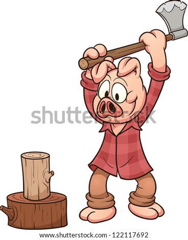 Lumberjack pig chopping wood. Vector clip art illustration with simple gradients. Pig and log on separate layers for easy editing.