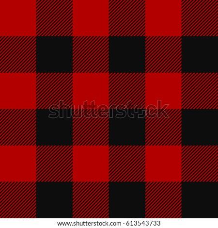 Lumberjack plaid pattern. Alternating red and black squares seamless background. Vector illustration.