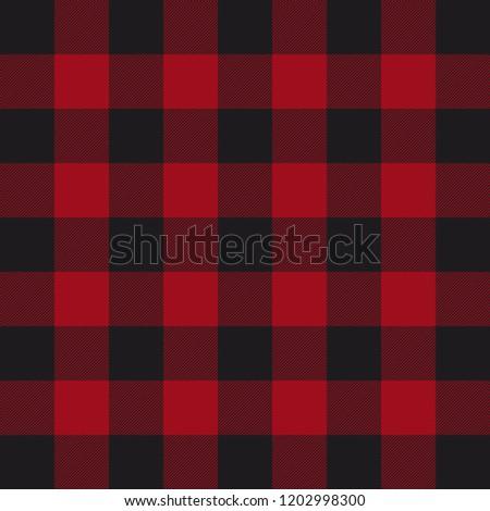 Lumberjack plaid pattern. Red and black lumberjack. Vector illustration.