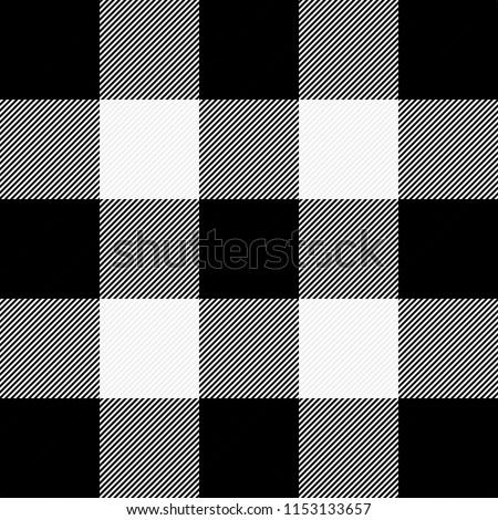 Lumberjack plaid. Scottish pattern in white and black cage. Scottish cage. Buffalo check. Traditional scottish ornament. Vector illustration