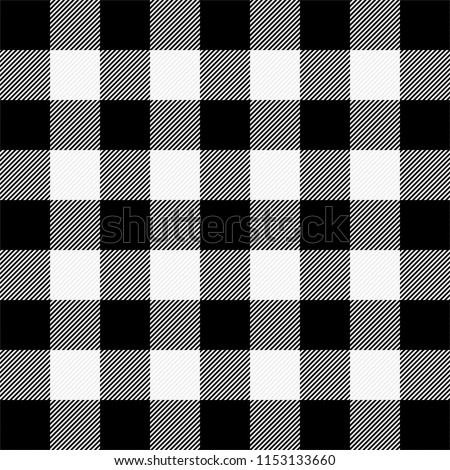 Lumberjack plaid. Scottish pattern in white and black cage. Scottish cage. Buffalo check. Traditional scottish ornament. Vector illustration