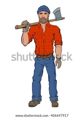 lumberjack rural man holds axe
