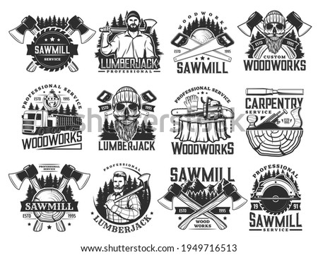 Lumberjack, sawmill lumbering service and logging wood vector icons. Lumber and forestry industry, logger woodwork bearded skull in hat. Woodcutter axe, saw and logging machine, tree logs and stumps Stock photo ©