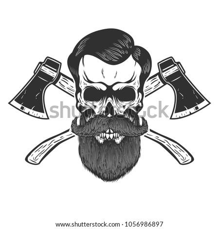 Lumberjack skull with crossed axes. Design element for emblem, sign, poster, t shirt. Vector illustration