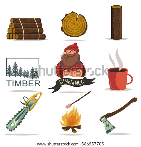 Lumberjack, timber and woodworking tools vector icons isolated on white background. Chainsaw, axe, tree ring, log wood, forest and more. Set of cartoon style.