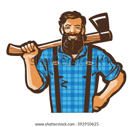 Lumberjack vector logo design template. Woodman, woodcutter or carpenter, joiner, woodworker icon