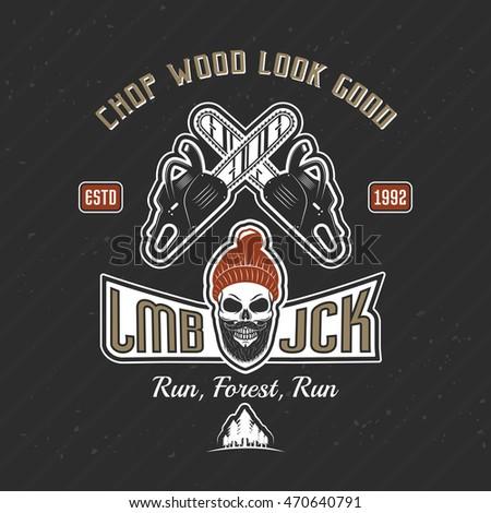 lumberjack vintage print of