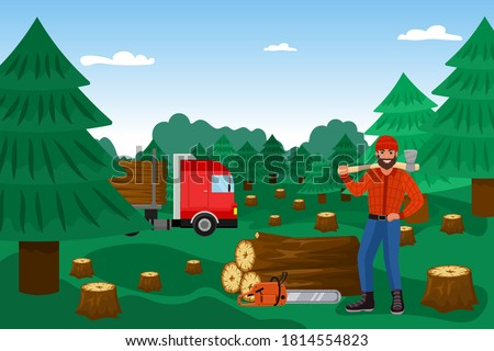 Lumberjack with woodcutter in forest, timber vector illustration. Lumber wood, cutting logs worker cartoon character. Lumberman in checkered shirt. Firewood industry lumberer. Stock photo ©