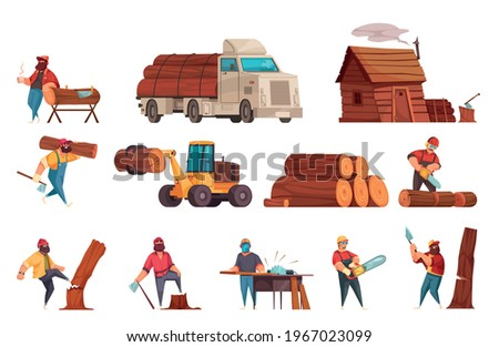 Lumberjack work equipment machinery cartoon set with loggers sawing wood chopping down felling transporting trees vector illustration Stock photo ©