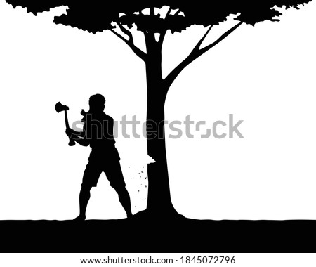 Lumberman with ax for tree cutting silhouette vector Stock photo ©