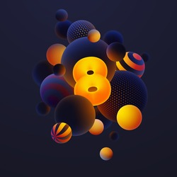 Luminescent yellow number 8, one with realistic blue balls, blured and luminous, orange balls with patterns, dots and stripes with soft touch feeling in dark background. Vector illustration.