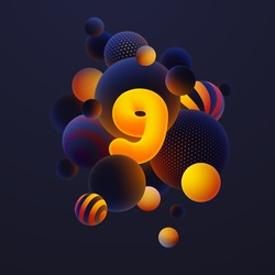 Luminescent yellow number 9, one with realistic blue balls, blured and luminous, orange balls with patterns, dots and stripes with soft touch feeling in dark background. Vector illustration.