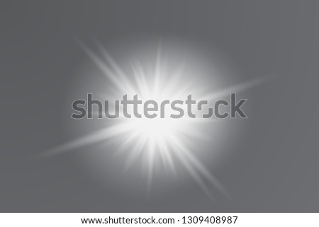 Luminous ellements. Rays of the sun. Bright stars. Vector illustration of glowing lens Vector illustration of glowing lens