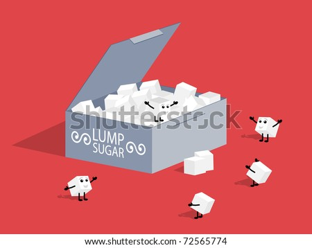 Lump sugar. Vector illustration.