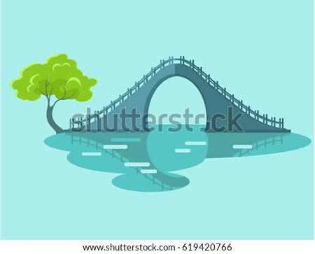 lunar bridge with green tree in