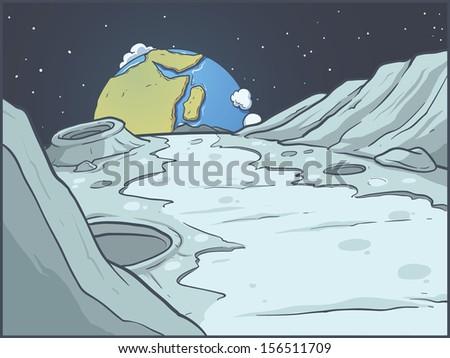 lunar landscape vector clip