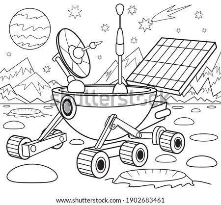 Lunar rover coloring book for children  Stock photo ©