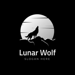Lunar Wolf. Wolf howling under the full moon logo vector icon illustration