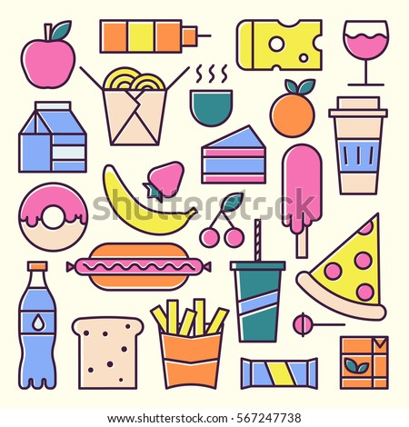 Lunch and fast food vector concept. Trendy bright colors. For web, apps and ui design.
