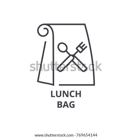 lunch bag line icon, outline sign, linear symbol, vector, flat illustration