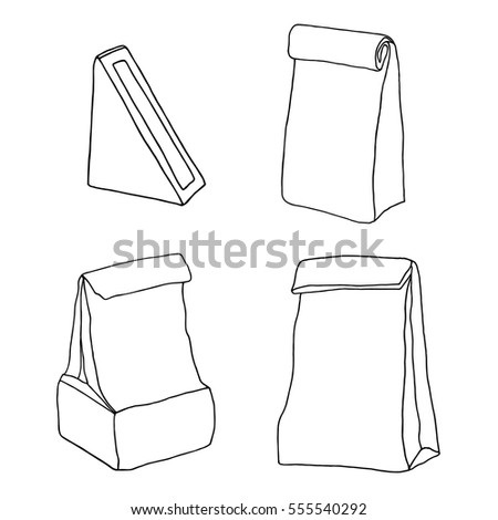 Lunch bags, lunch boxes collection. Paper food packages hand drawn vector set.