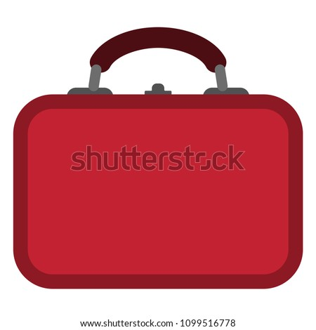Lunch Box Illustration - Red lunch box with blank front isolated on white background