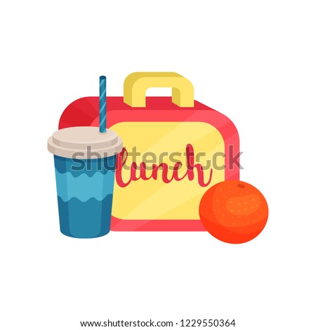Lunch box, juicy orange, cocktail in plastic cup with lid and drinking straw. School food and drink. Flat vector design