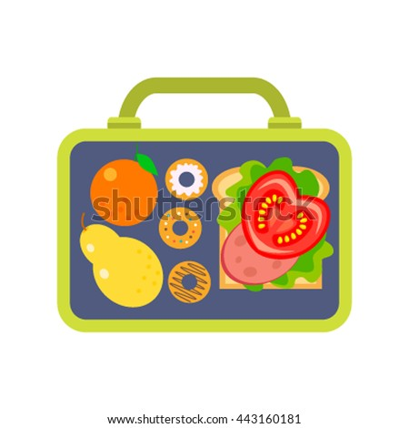 Lunch box to school consisting of fruit, burger and biscuits. Flat vector illustration