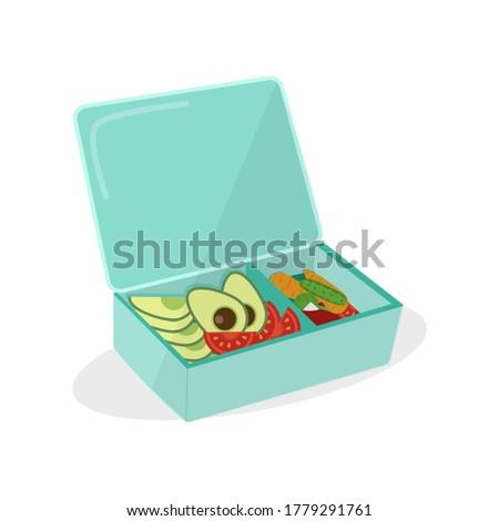 Lunch Box, vector illustration. Vegetables, avocado, tomato, cucumber, radish. Proper nutrition.