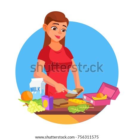 Lunch Box Vector. Making A Healthy School Lunch For Kids. Making School Lunch Box. Cartoon Character Illustration