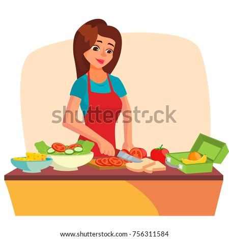 Lunch Box Vector. Young Woman Making Lunch In The Morning. Mother Making Breakfast For Children. Healthy Food.  Isolated Flat Cartoon Character Illustration