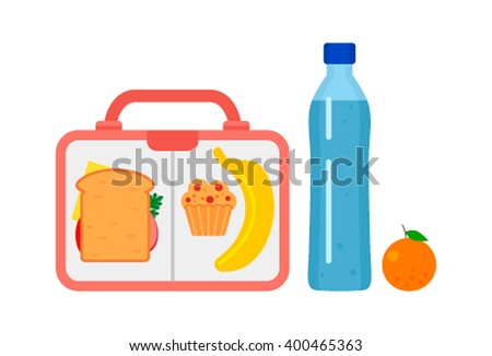 Lunch Box with school lunch: banana, orange, sandwich and muffin. Flat vector illustration.