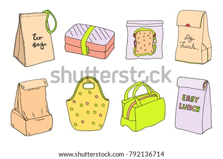 Lunch boxes and lunch bags set. Eco bag, sandwich box, easy lunch. Hand drawn artistic sketch cartoon illustration.