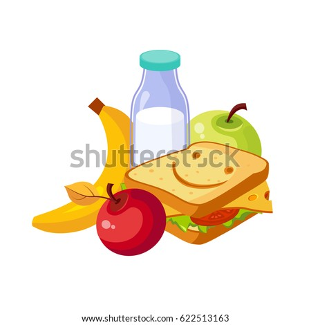 Lunch Food, Sandwich, Milk And Fruits, Set Of School And Education Related Objects In Colorful Cartoon Style
